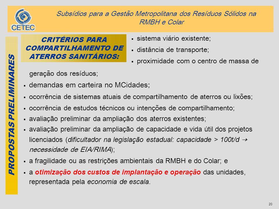 20 geração dos resíduos; demandas em carteira no MCidades; ocorrência de sistemas atuais de compartilhamento de aterros ou lixões; ocorrência de estud