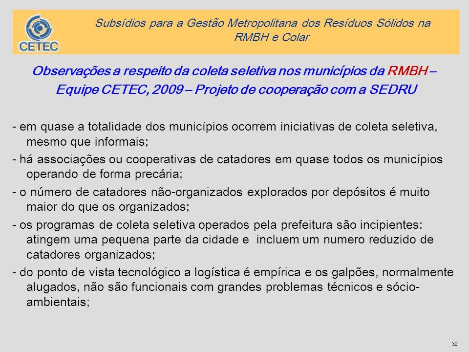 32 Observações a respeito da coleta seletiva nos municípios da RMBH – Equipe CETEC, 2009 – Projeto de cooperação com a SEDRU - em quase a totalidade d