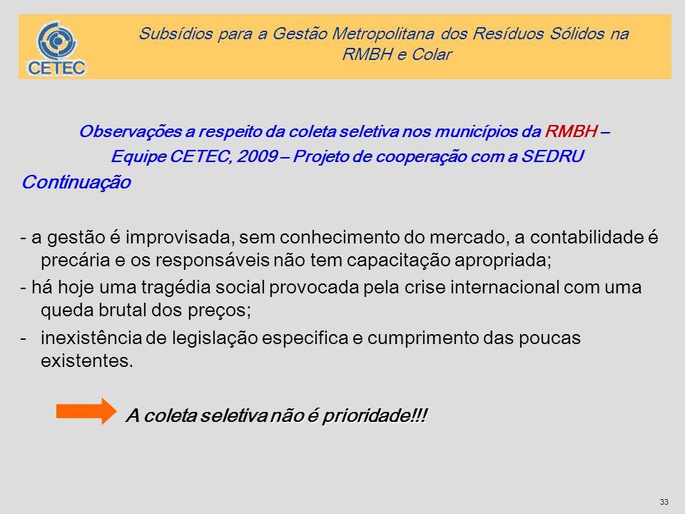 33 Observações a respeito da coleta seletiva nos municípios da RMBH – Equipe CETEC, 2009 – Projeto de cooperação com a SEDRU Continuação - a gestão é