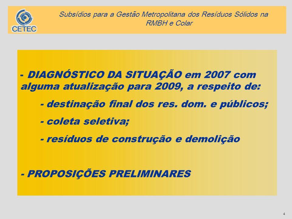4 - DIAGNÓSTICO DA SITUAÇÃO em 2007 com alguma atualização para 2009, a respeito de: - destinação final dos res. dom. e públicos; - coleta seletiva; -