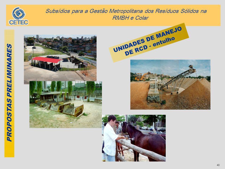40 PROPOSTAS PRELIMINARES UNIDADES DE MANEJO DE RCD - entulho Subsídios para a Gestão Metropolitana dos Resíduos Sólidos na RMBH e Colar