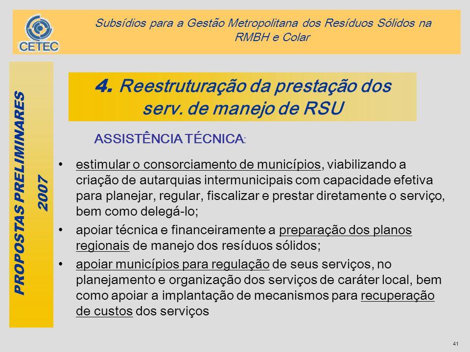41 4. Reestruturação da prestação dos serv. de manejo de RSU PROPOSTAS PRELIMINARES 2007 ASSISTÊNCIA TÉCNICA : estimular o consorciamento de município