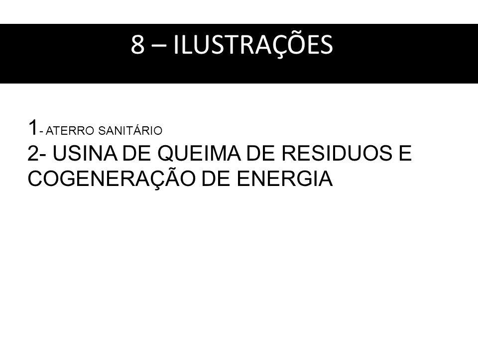 8 – ILUSTRAÇÕES : 1 - ATERRO SANITÁRIO 2- USINA DE QUEIMA DE RESIDUOS E COGENERAÇÃO DE ENERGIA