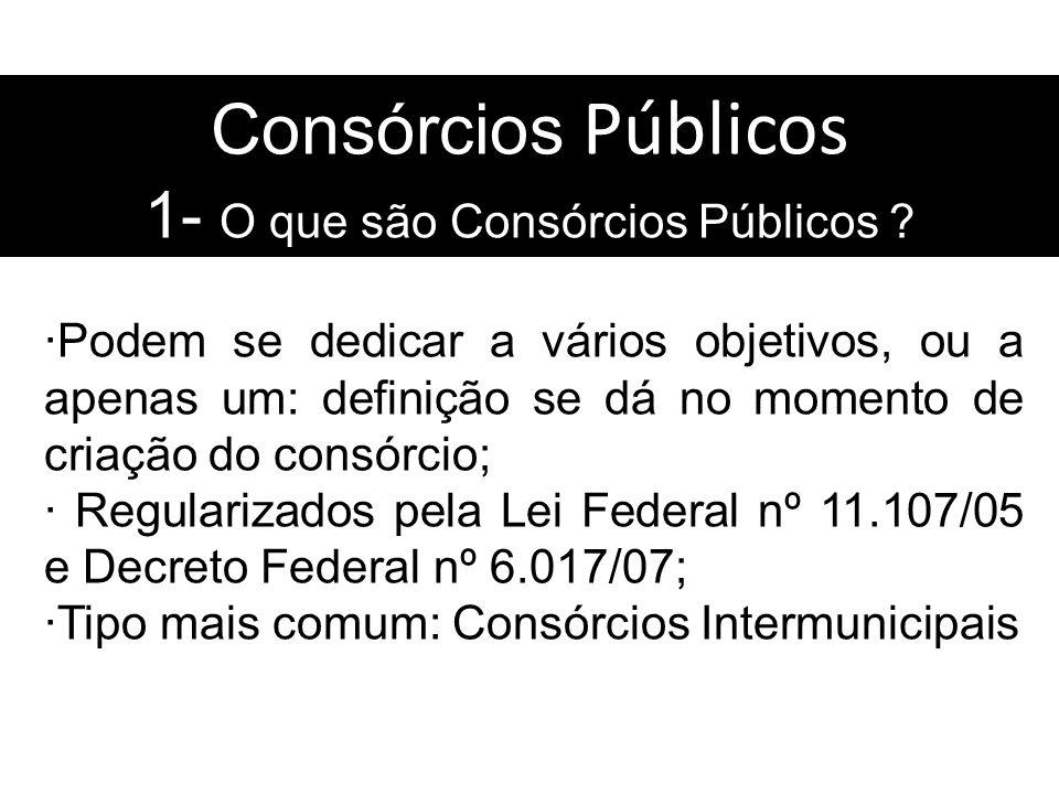 Consórcios Públicos 1- O que são Consórcios Públicos ? Podem se dedicar a vários objetivos, ou a apenas um: definição se dá no momento de criação do c