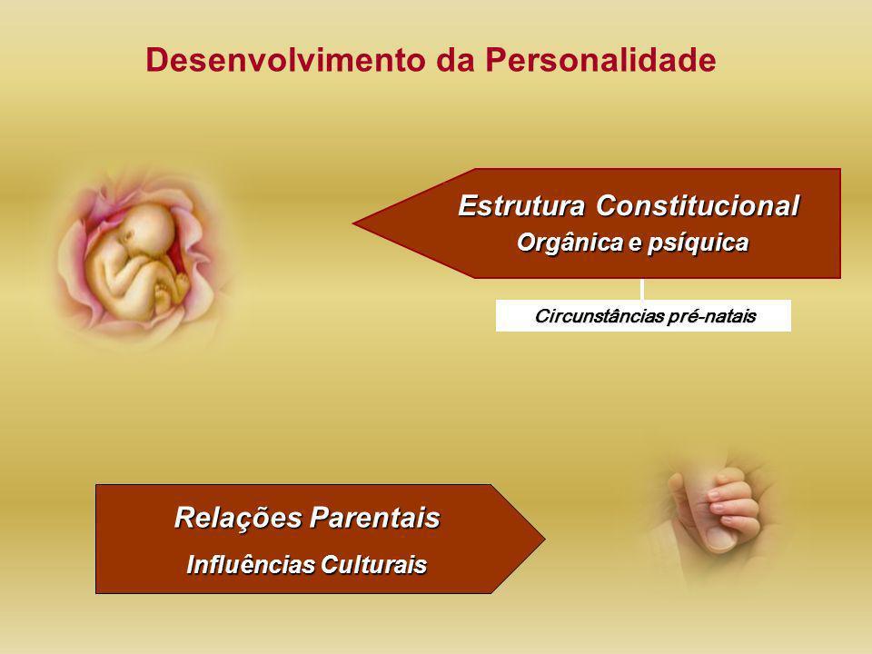 Estrutura Constitucional Orgânica e psíquica Circunstâncias pré-natais Relações Parentais Influências Culturais Desenvolvimento da Personalidade