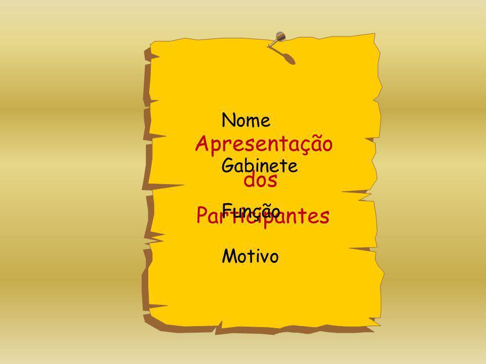 Apresentação dos Participantes Nome Gabinete Função Motivo