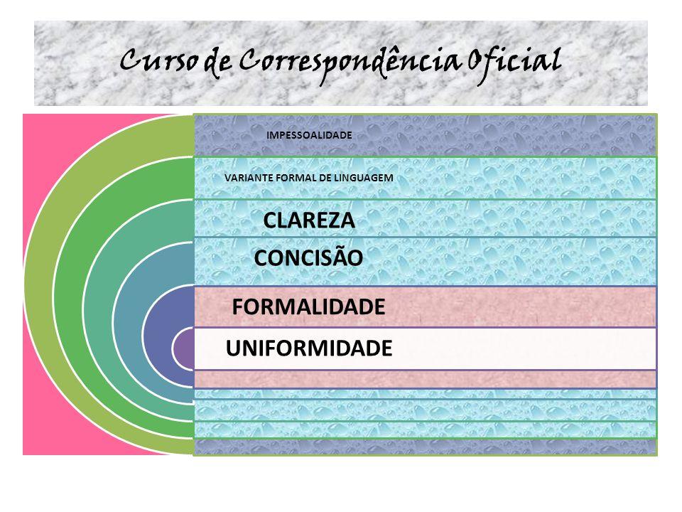 Curso de Correspondência Oficial IMPESSOALIDADE VARIANTE FORMAL DE LINGUAGEM CLAREZA CONCISÃO FORMALIDADE UNIFORMIDADE