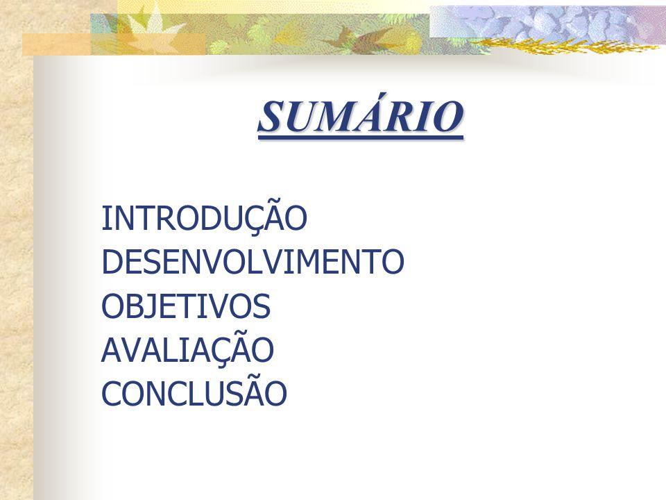 SUMÁRIO INTRODUÇÃO DESENVOLVIMENTO OBJETIVOS AVALIAÇÃO CONCLUSÃO