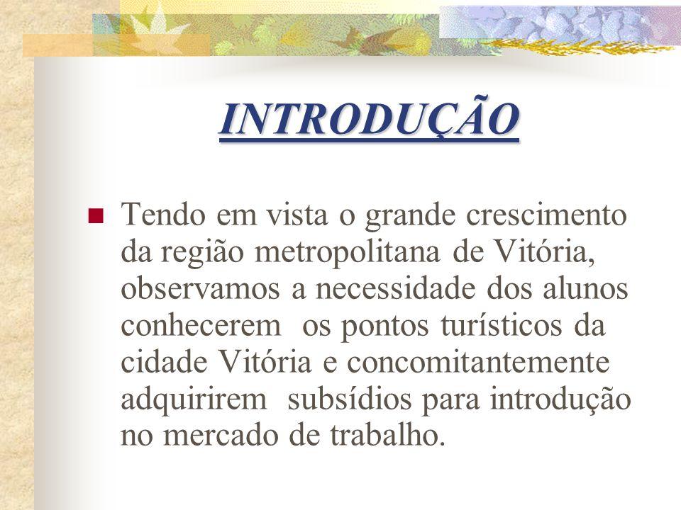 INTRODUÇÃO Tendo em vista o grande crescimento da região metropolitana de Vitória, observamos a necessidade dos alunos conhecerem os pontos turísticos