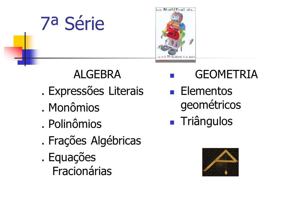 6ª Série Nº Inteiros Relativos Nº Racionais Relativos Equações do 1º grau Sistema de equações do 1º grau Problemas do 1º grau