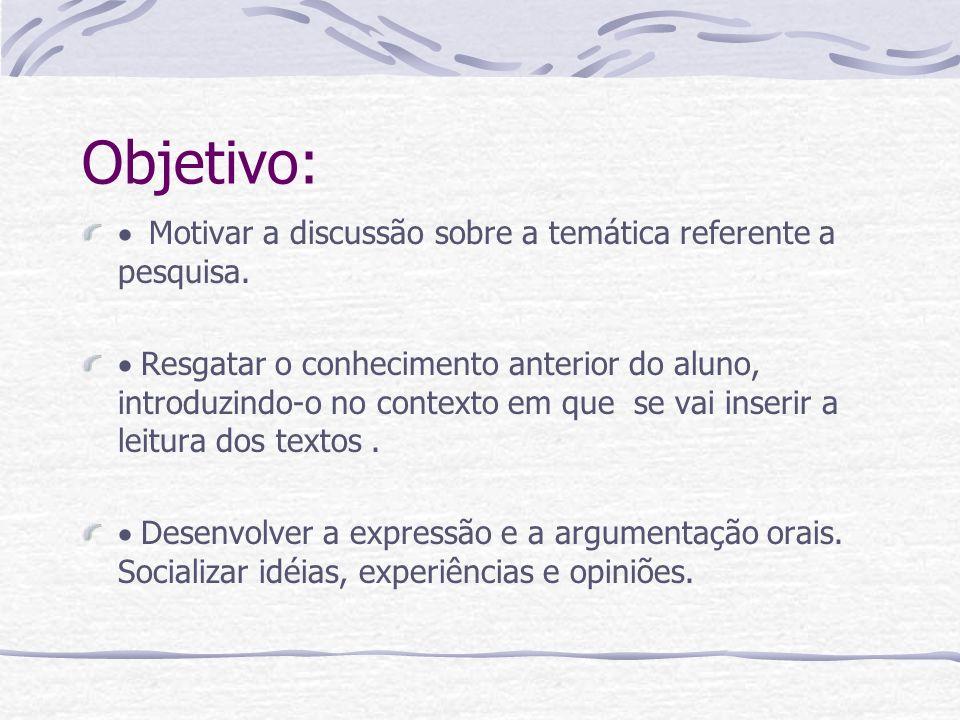 Objetivo: Motivar a discussão sobre a temática referente a pesquisa. Resgatar o conhecimento anterior do aluno, introduzindo-o no contexto em que se v
