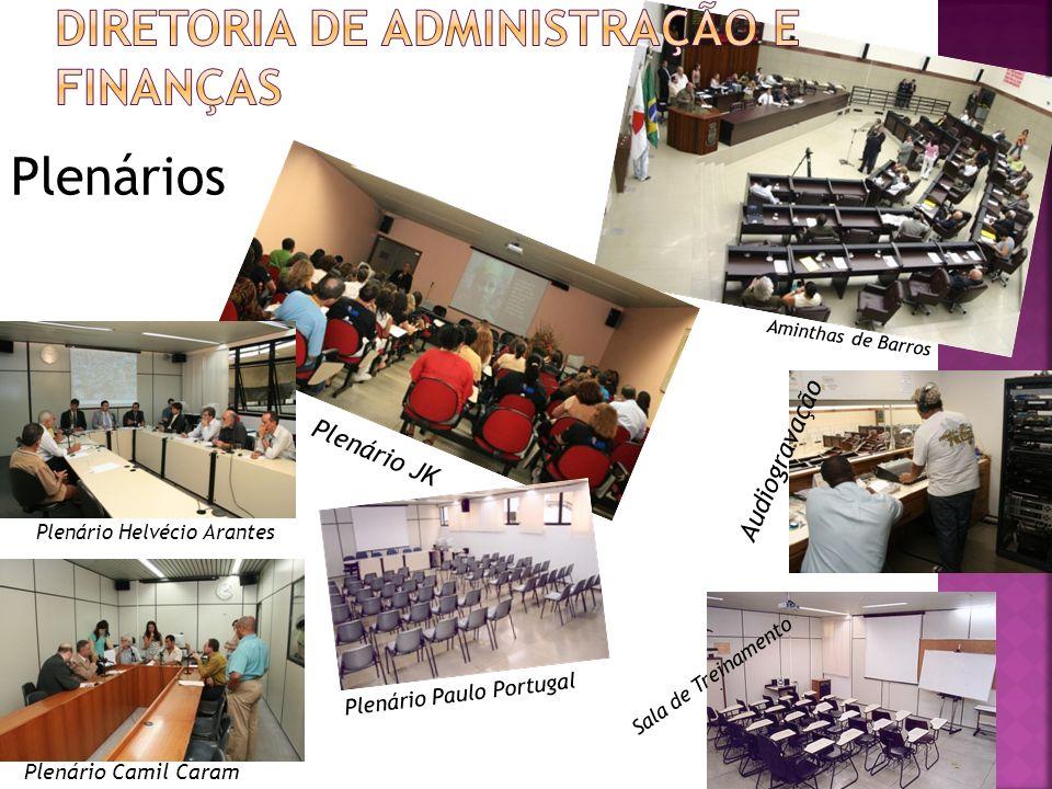 Plenários Aminthas de Barros Audiogravação Plenário JK Plenário Helvécio Arantes Plenário Camil Caram Plenário Paulo Portugal Sala de Treinamento