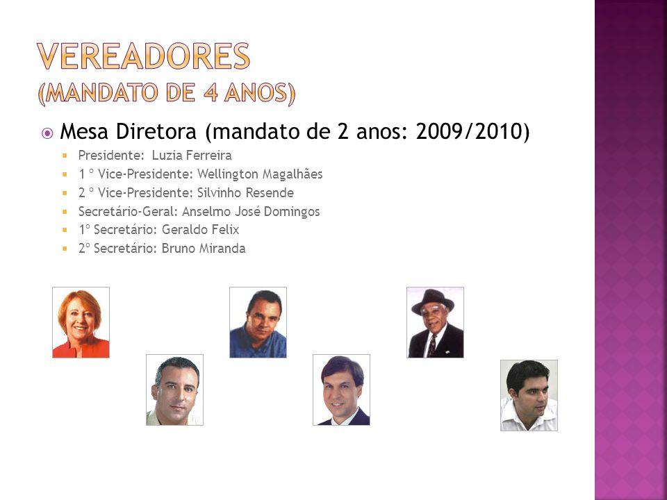 Mesa Diretora (mandato de 2 anos: 2009/2010) Presidente: Luzia Ferreira 1 º Vice-Presidente: Wellington Magalhães 2 º Vice-Presidente: Silvinho Resend