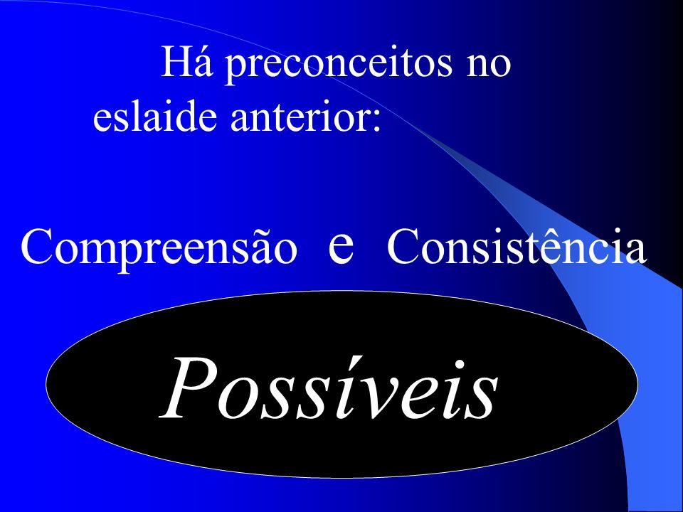 Há preconceitos no eslaide anterior: Compreensão e Consistência Possíveis
