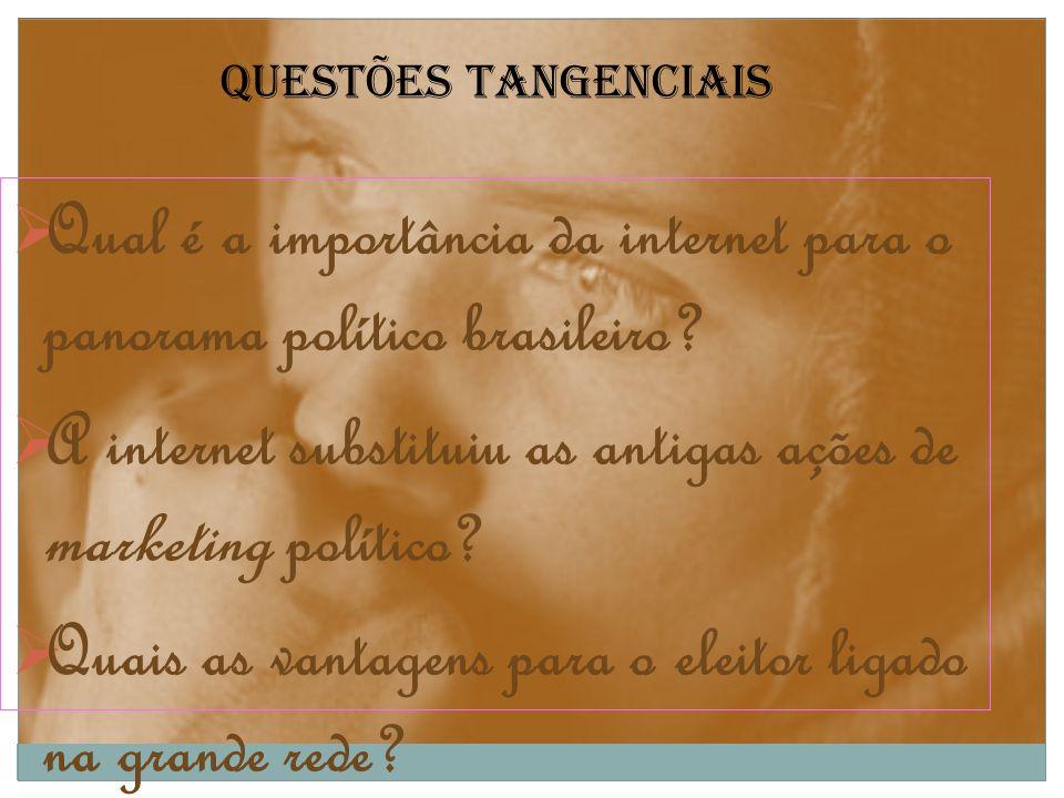 Questões tangenciais Qual é a importância da internet para o panorama político brasileiro? A internet substituiu as antigas ações de marketing polític