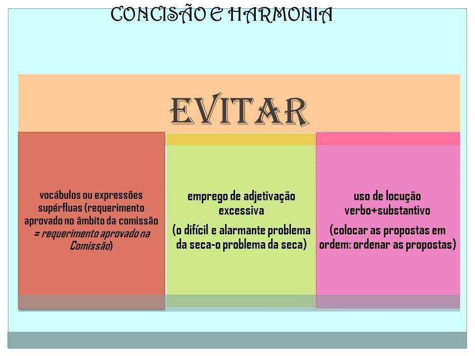 CONCISÃO E HARMONIA EVITAR vocábulos ou expressões supérfluas (requerimento aprovado no âmbito da comissão = requerimento aprovado na Comissão) empreg