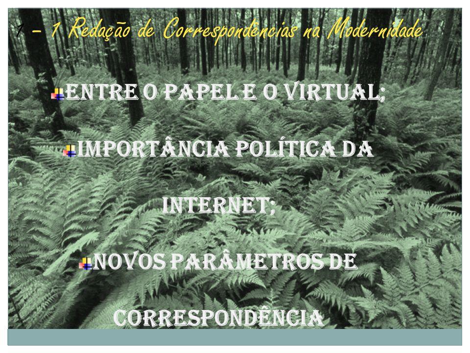 1 – 1 Redação de Correspondências na Modernidade Entre o papel e o Virtual; Importância política da internet; Novos parâmetros de correspondência