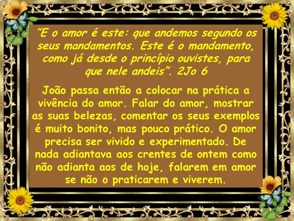 E o amor é este: que andemos segundo os seus mandamentos. Este é o mandamento, como já desde o princípio ouvistes, para que nele andeis. 2Jo 6 João pa