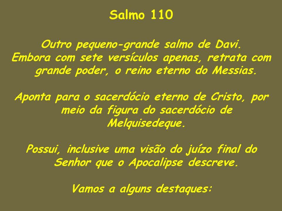 Salmo 110 Outro pequeno-grande salmo de Davi. Embora com sete versículos apenas, retrata com grande poder, o reino eterno do Messias. Aponta para o sa