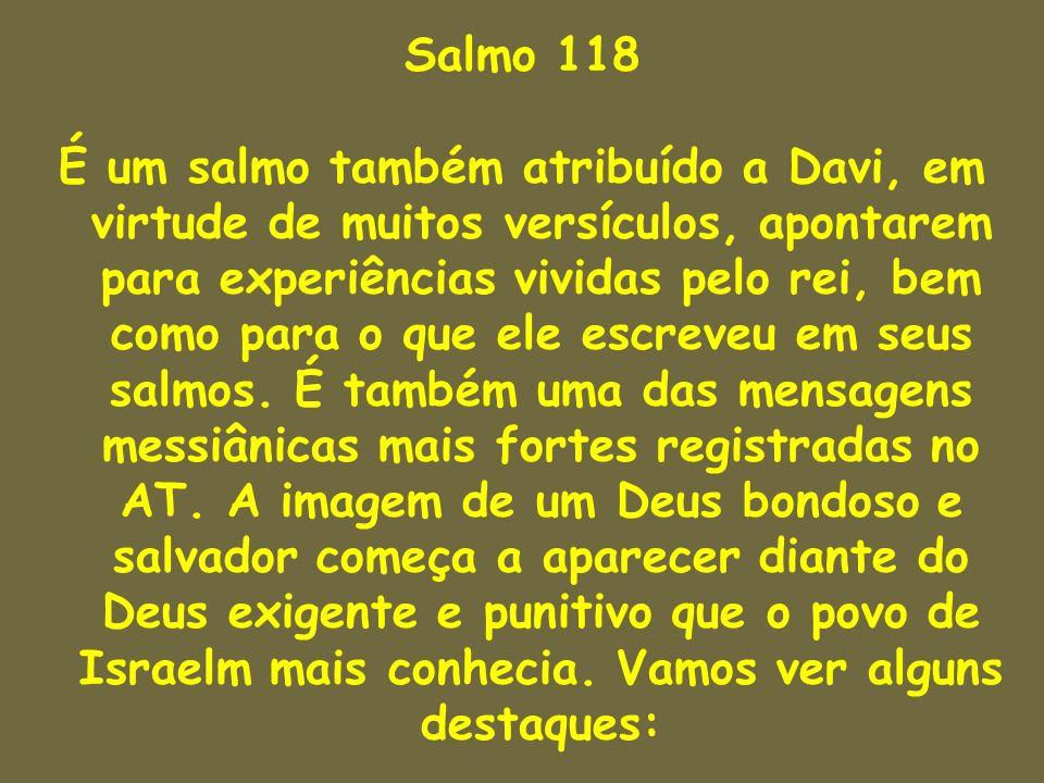 Salmo 118 É um salmo também atribuído a Davi, em virtude de muitos versículos, apontarem para experiências vividas pelo rei, bem como para o que ele e