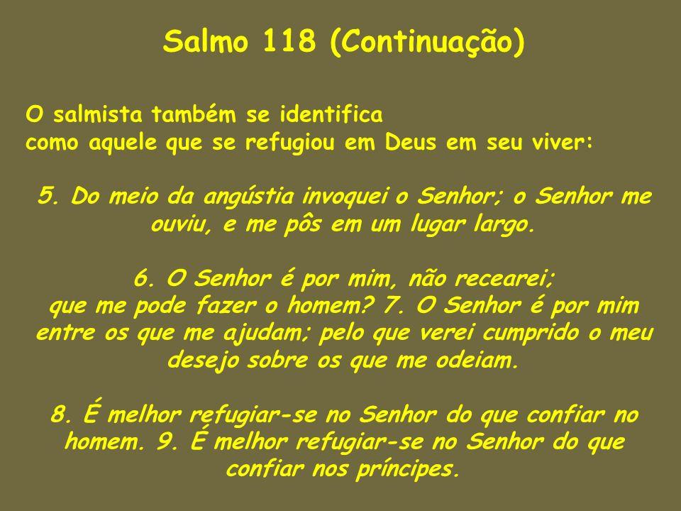 Salmo 118 (Continuação) O salmista também se identifica como aquele que se refugiou em Deus em seu viver: 5. Do meio da angústia invoquei o Senhor; o