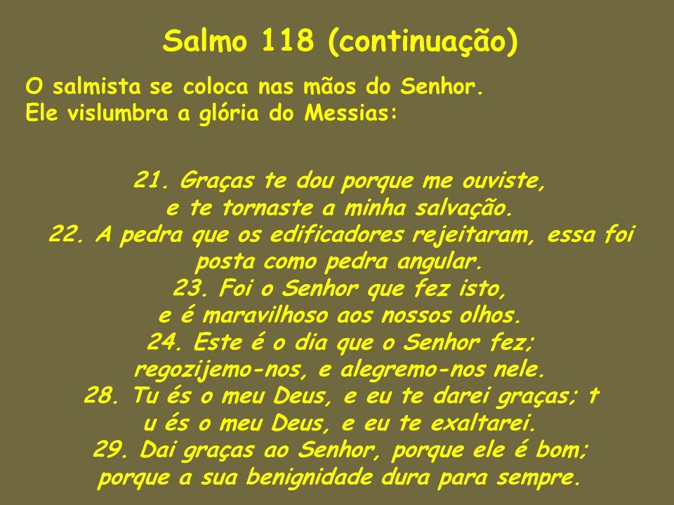 Salmo 118 (continuação) O salmista se coloca nas mãos do Senhor. Ele vislumbra a glória do Messias: 21. Graças te dou porque me ouviste, e te tornaste