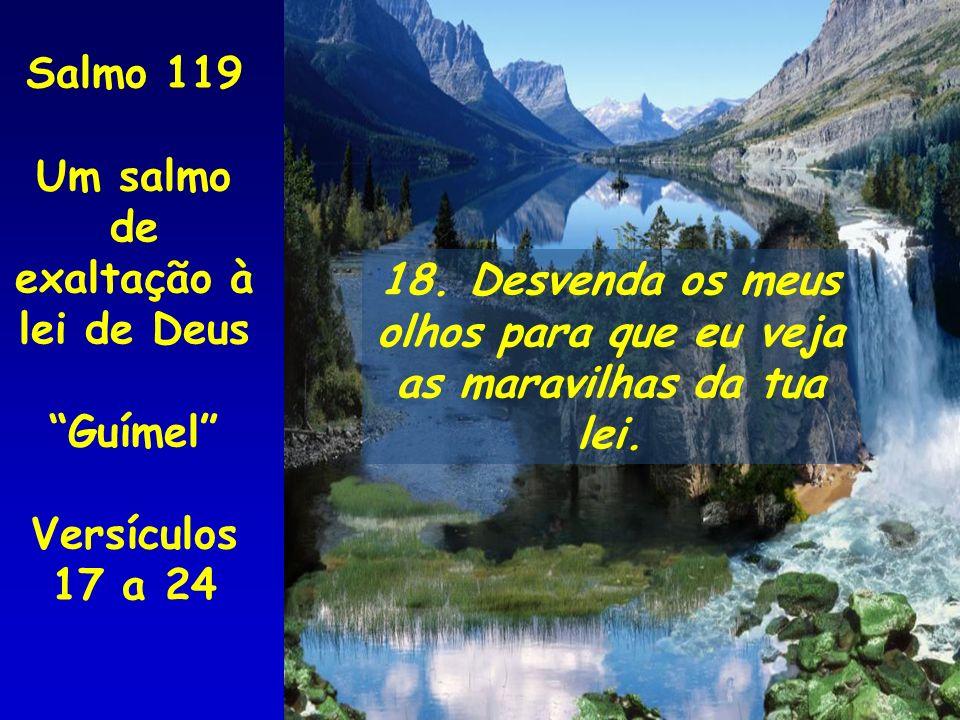 18. Desvenda os meus olhos para que eu veja as maravilhas da tua lei. Salmo 119 Um salmo de exaltação à lei de Deus Guímel Versículos 17 a 24