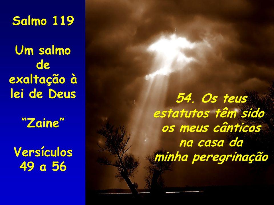 54. Os teus estatutos têm sido os meus cânticos na casa da minha peregrinação Salmo 119 Um salmo de exaltação à lei de Deus Zaine Versículos 49 a 56
