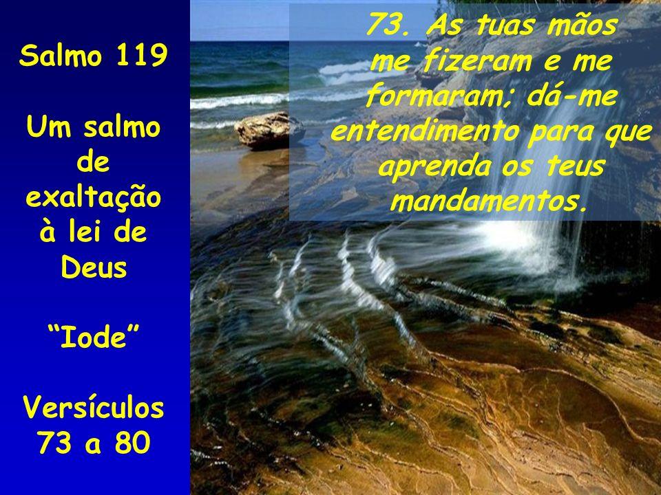 73. As tuas mãos me fizeram e me formaram; dá-me entendimento para que aprenda os teus mandamentos. Salmo 119 Um salmo de exaltação à lei de Deus Iode