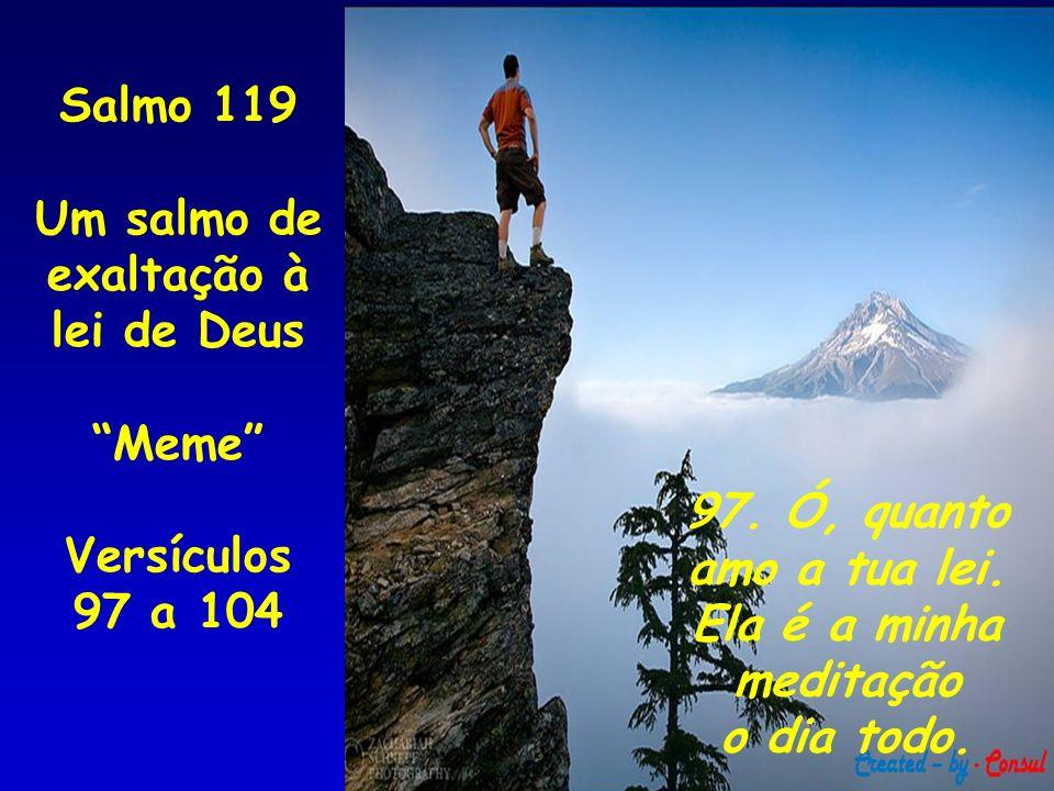 97. Ó, quanto amo a tua lei. Ela é a minha meditação o dia todo. Salmo 119 Um salmo de exaltação à lei de Deus Meme Versículos 97 a 104