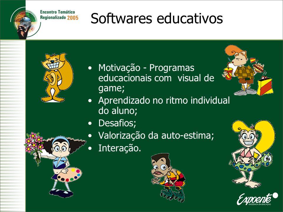 Softwares educativos Motivação - Programas educacionais com visual de game; Aprendizado no ritmo individual do aluno; Desafios; Valorização da auto-es