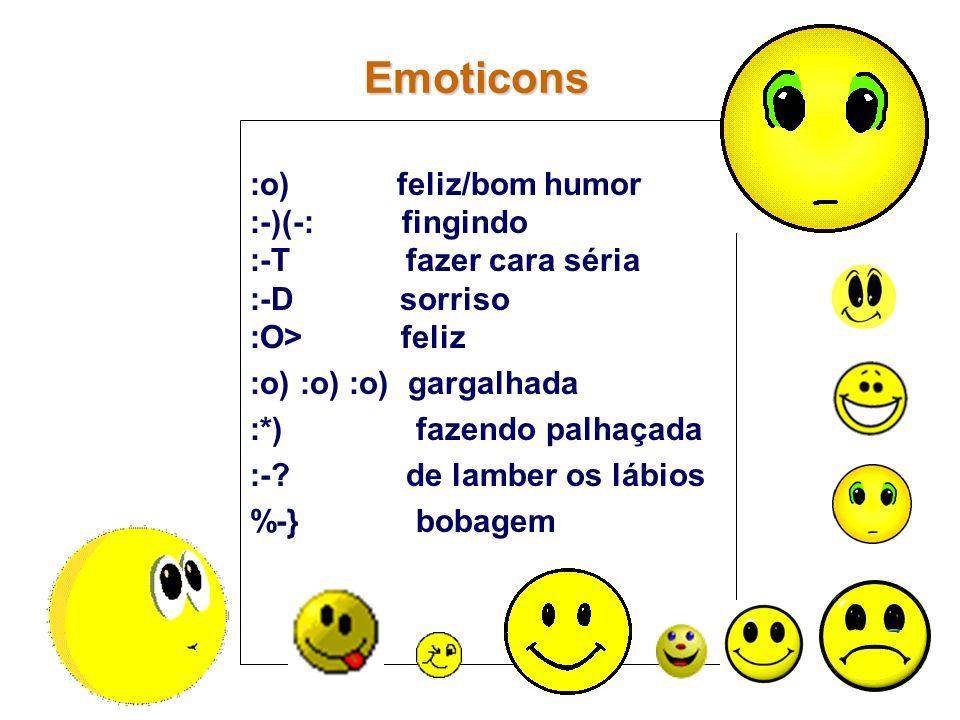 :o) feliz/bom humor :-)(-: fingindo :-T fazer cara séria :-D sorriso :O> feliz :o) :o) :o) gargalhada :*) fazendo palhaçada :-? de lamber os lábios %-
