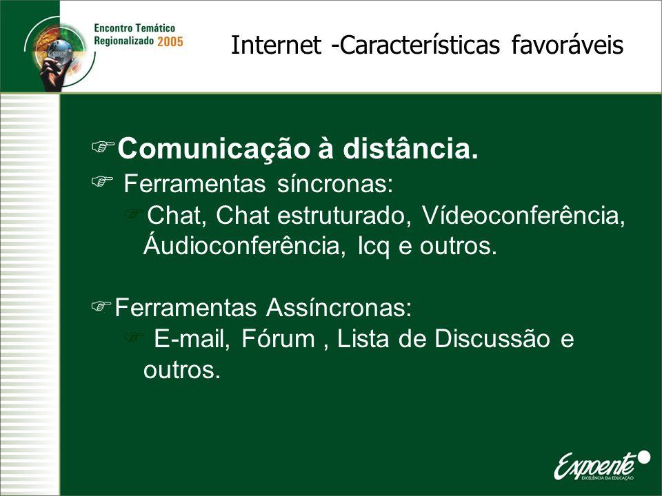 Comunicação à distância. Ferramentas síncronas: Chat, Chat estruturado, Vídeoconferência, Áudioconferência, Icq e outros. Ferramentas Assíncronas: E-m
