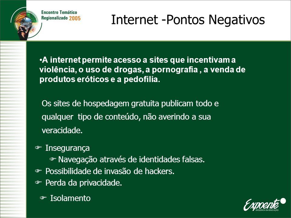 Internet -Pontos Negativos A internet permite acesso a sites que incentivam a violência, o uso de drogas, a pornografia, a venda de produtos eróticos