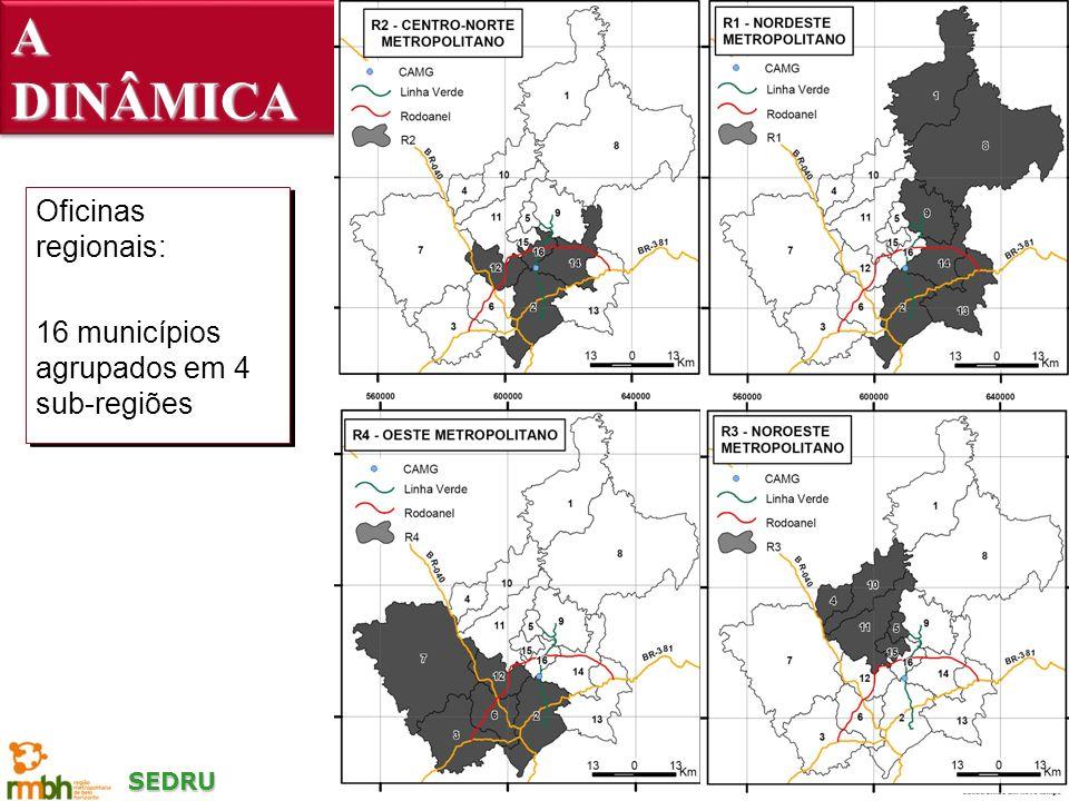 SEDRU A DINÂMICA Oficinas regionais: 16 municípios agrupados em 4 sub-regiões Oficinas regionais: 16 municípios agrupados em 4 sub-regiões