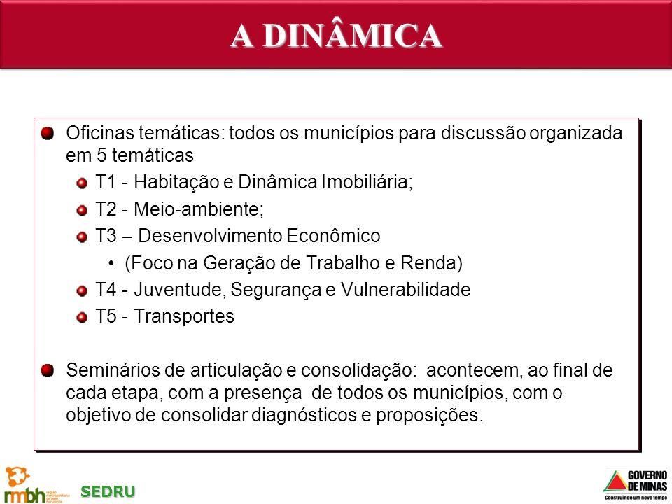 SEDRU A DINÂMICA Oficinas temáticas: todos os municípios para discussão organizada em 5 temáticas T1 - Habitação e Dinâmica Imobiliária; T2 - Meio-amb