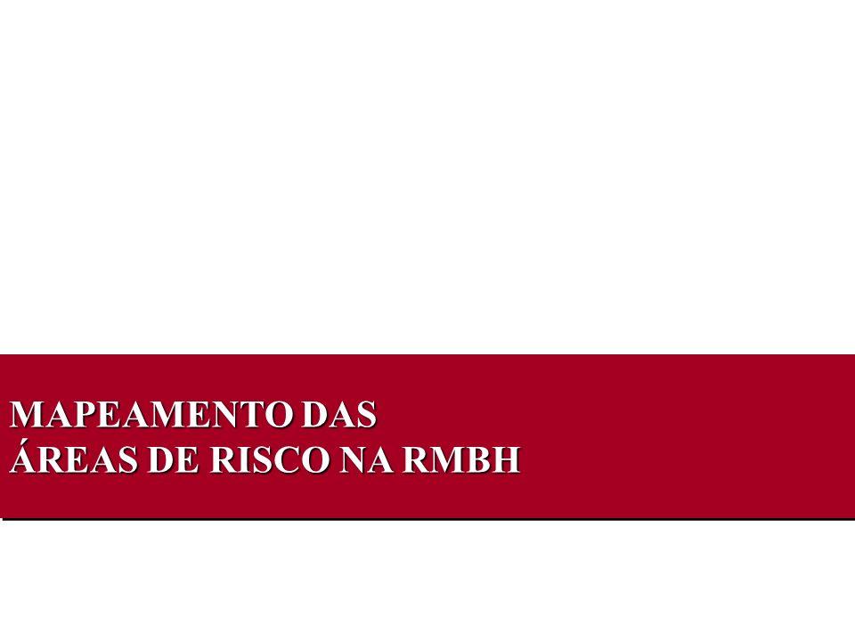 MAPEAMENTO DAS ÁREAS DE RISCO NA RMBH MAPEAMENTO DAS ÁREAS DE RISCO NA RMBH