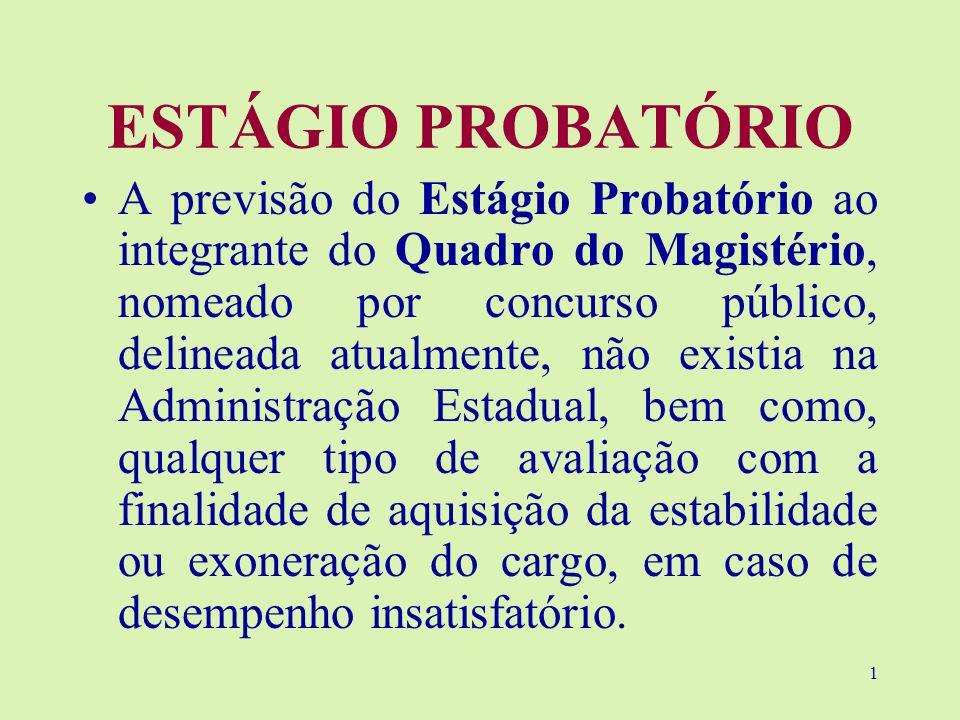 1 ESTÁGIO PROBATÓRIO A previsão do Estágio Probatório ao integrante do Quadro do Magistério, nomeado por concurso público, delineada atualmente, não e