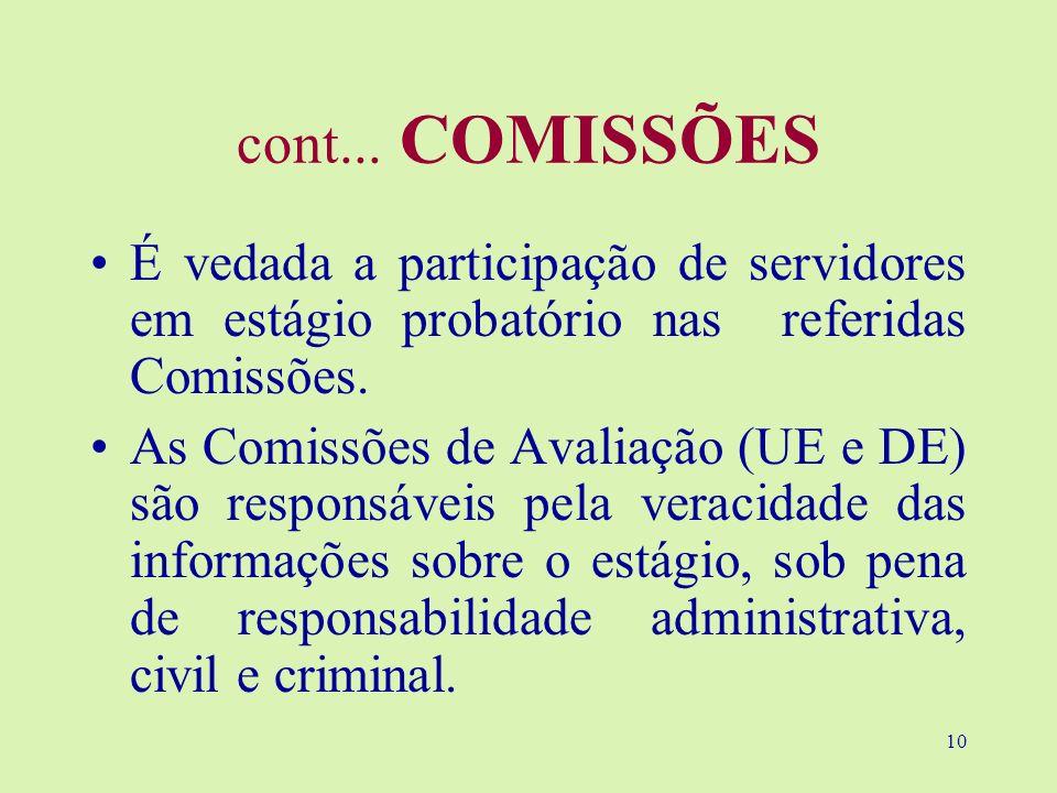 10 cont... COMISSÕES É vedada a participação de servidores em estágio probatório nas referidas Comissões. As Comissões de Avaliação (UE e DE) são resp