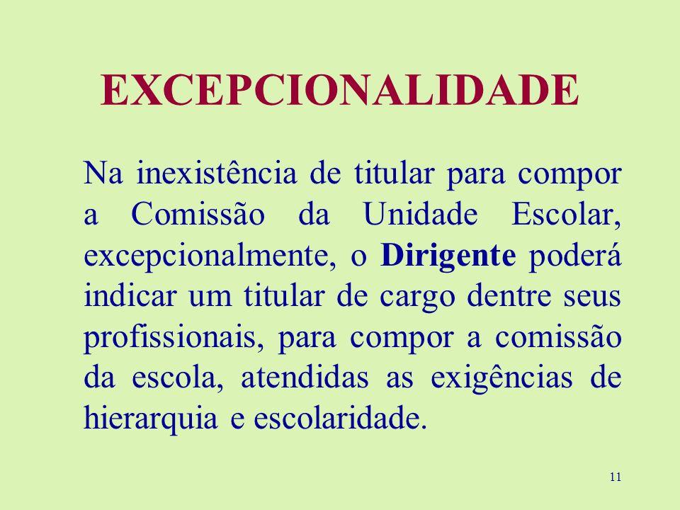 11 EXCEPCIONALIDADE Na inexistência de titular para compor a Comissão da Unidade Escolar, excepcionalmente, o Dirigente poderá indicar um titular de c