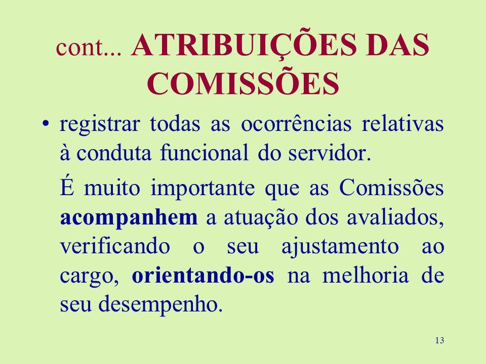 13 cont... ATRIBUIÇÕES DAS COMISSÕES registrar todas as ocorrências relativas à conduta funcional do servidor. É muito importante que as Comissões aco