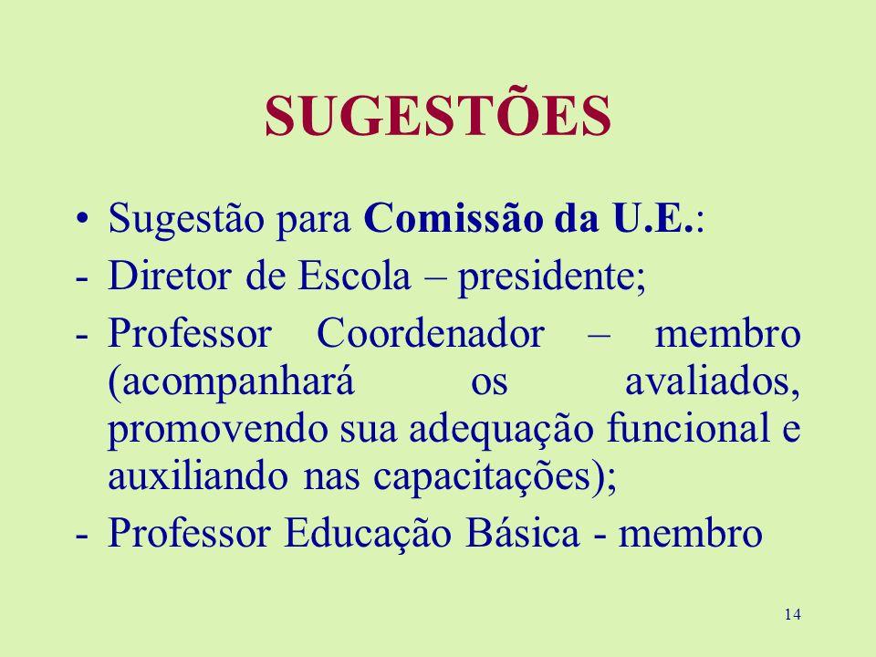 14 SUGESTÕES Sugestão para Comissão da U.E.: -Diretor de Escola – presidente; -Professor Coordenador – membro (acompanhará os avaliados, promovendo su