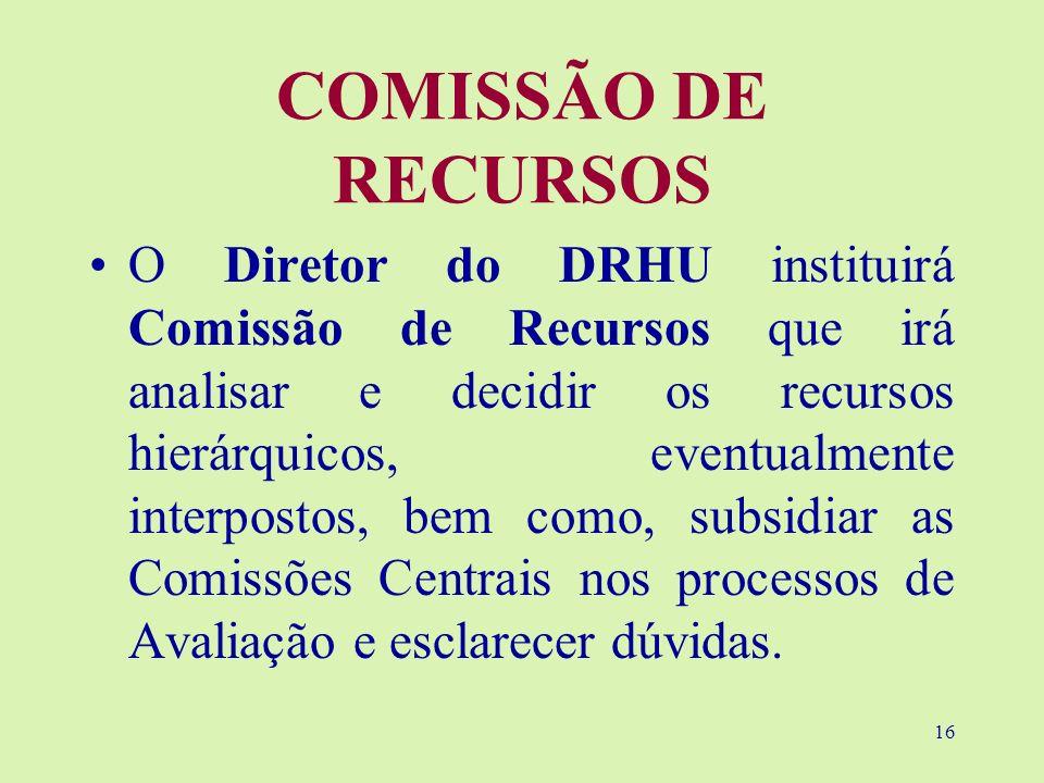 16 COMISSÃO DE RECURSOS O Diretor do DRHU instituirá Comissão de Recursos que irá analisar e decidir os recursos hierárquicos, eventualmente interpost