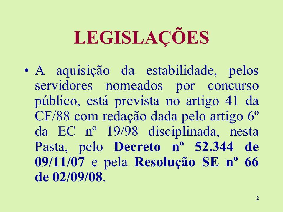 2 LEGISLAÇÕES A aquisição da estabilidade, pelos servidores nomeados por concurso público, está prevista no artigo 41 da CF/88 com redação dada pelo a