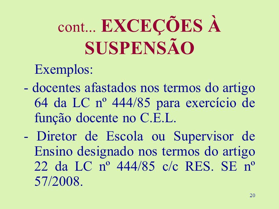 20 cont... EXCEÇÕES À SUSPENSÃO Exemplos: - docentes afastados nos termos do artigo 64 da LC nº 444/85 para exercício de função docente no C.E.L. - Di