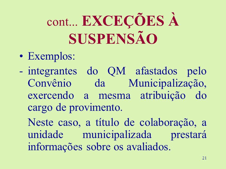 21 cont... EXCEÇÕES À SUSPENSÃO Exemplos: -integrantes do QM afastados pelo Convênio da Municipalização, exercendo a mesma atribuição do cargo de prov