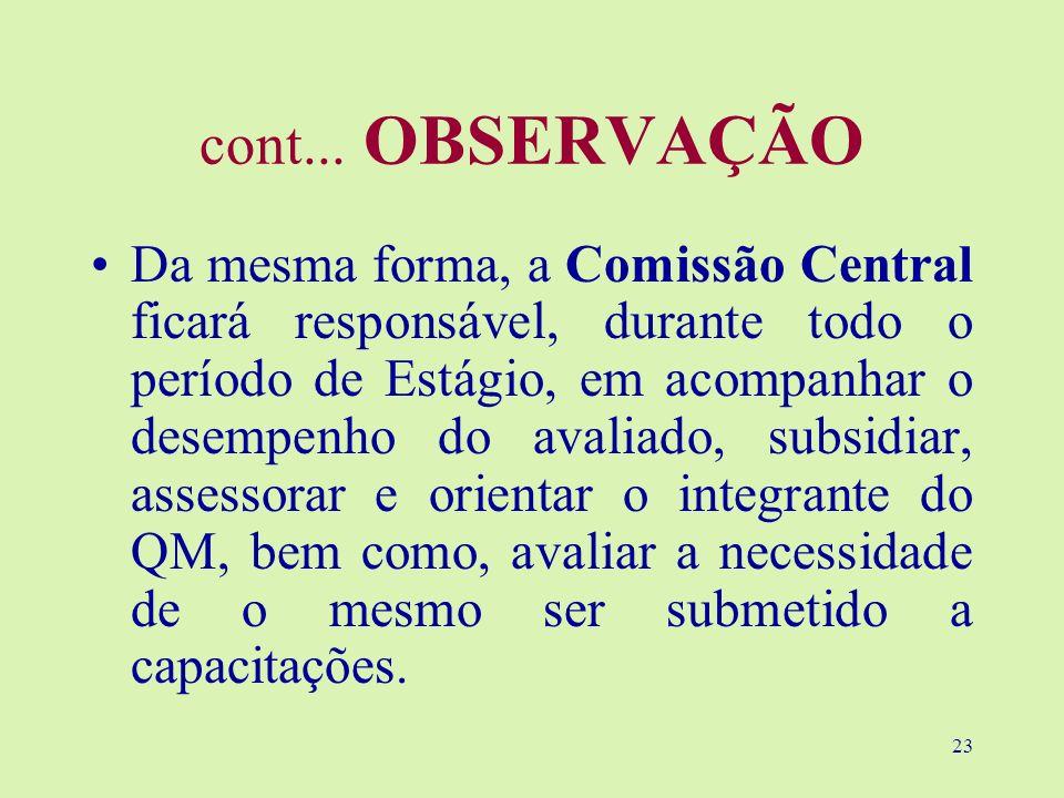 23 cont... OBSERVAÇÃO Da mesma forma, a Comissão Central ficará responsável, durante todo o período de Estágio, em acompanhar o desempenho do avaliado