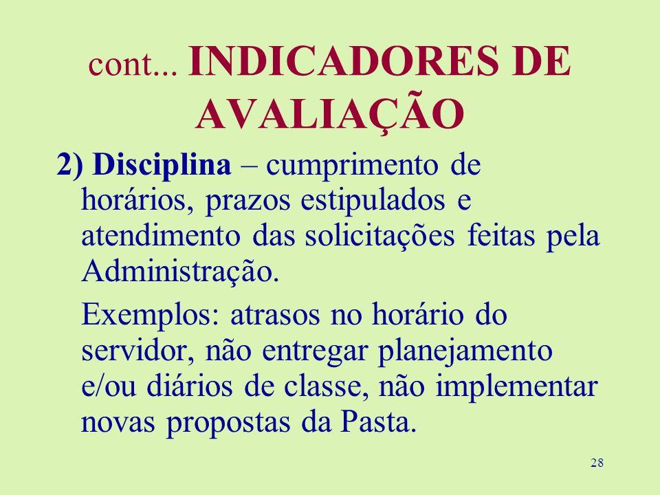 28 cont... INDICADORES DE AVALIAÇÃO 2) Disciplina – cumprimento de horários, prazos estipulados e atendimento das solicitações feitas pela Administraç