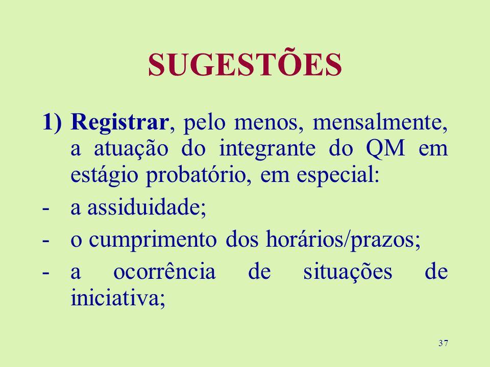 37 SUGESTÕES 1)Registrar, pelo menos, mensalmente, a atuação do integrante do QM em estágio probatório, em especial: -a assiduidade; -o cumprimento do