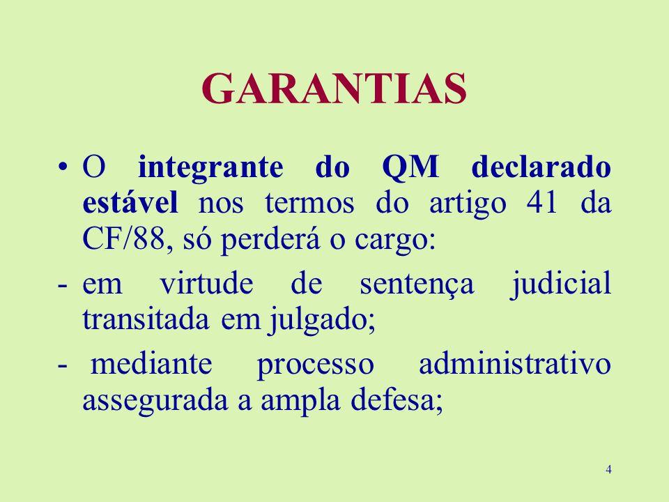 4 GARANTIAS O integrante do QM declarado estável nos termos do artigo 41 da CF/88, só perderá o cargo: -em virtude de sentença judicial transitada em